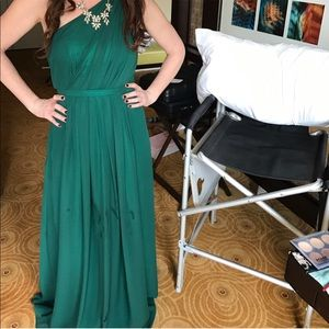 Hunter green one shoulder full length column gown